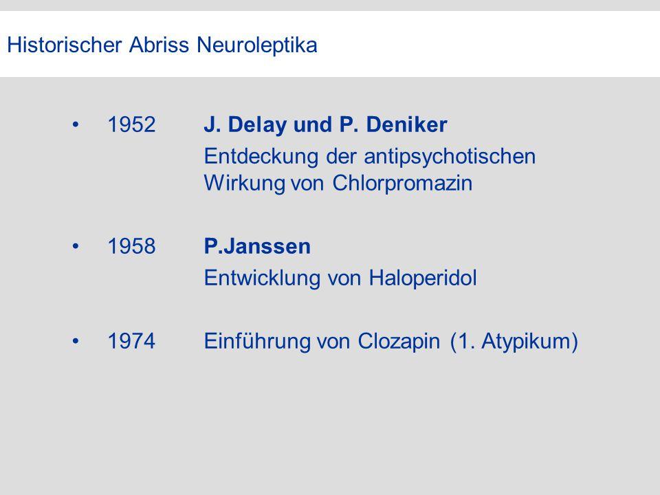 Historischer Abriss Neuroleptika 1952J. Delay und P. Deniker Entdeckung der antipsychotischen Wirkung von Chlorpromazin 1958P.Janssen Entwicklung von