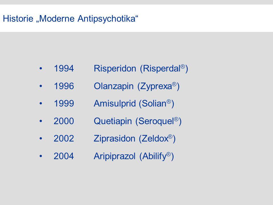 "Historie ""Moderne Antipsychotika"" 1994Risperidon (Risperdal ® ) 1996Olanzapin (Zyprexa ® ) 1999Amisulprid (Solian ® ) 2000Quetiapin (Seroquel ® ) 2002"