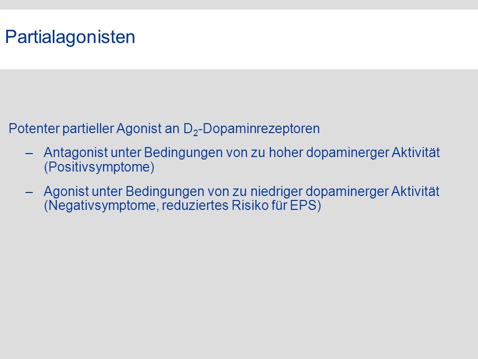 Partialagonisten Potenter partieller Agonist an D 2 -Dopaminrezeptoren –Antagonist unter Bedingungen von zu hoher dopaminerger Aktivität (Positivsympt