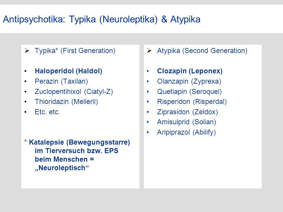 Antipsychotika: Typika (Neuroleptika) & Atypika  Typika* (First Generation) Haloperidol (Haldol) Perazin (Taxilan) Zuclopentihixol (Ciatyl-Z) Thiorid