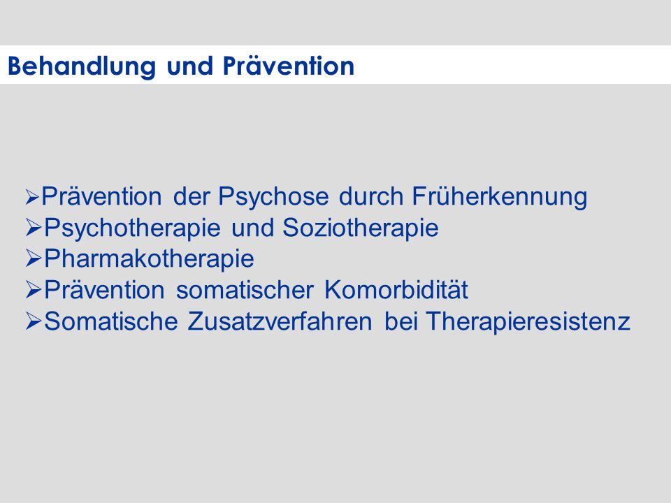 Behandlung und Prävention  Prävention der Psychose durch Früherkennung  Psychotherapie und Soziotherapie  Pharmakotherapie  Prävention somatischer