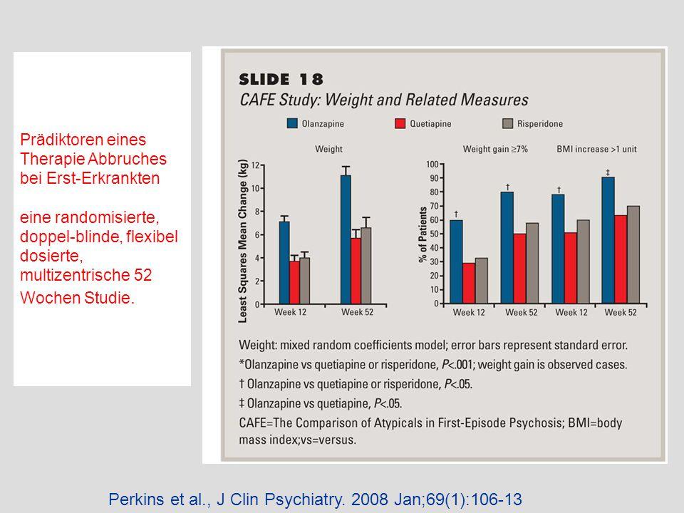 Perkins et al., J Clin Psychiatry. 2008 Jan;69(1):106-13 Prädiktoren eines Therapie Abbruches bei Erst-Erkrankten eine randomisierte, doppel-blinde, f