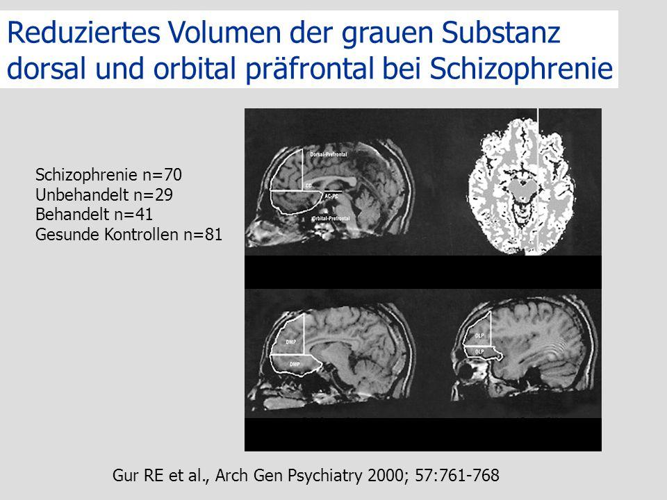 Reduziertes Volumen der grauen Substanz dorsal und orbital präfrontal bei Schizophrenie Gur RE et al., Arch Gen Psychiatry 2000; 57:761-768 Schizophre