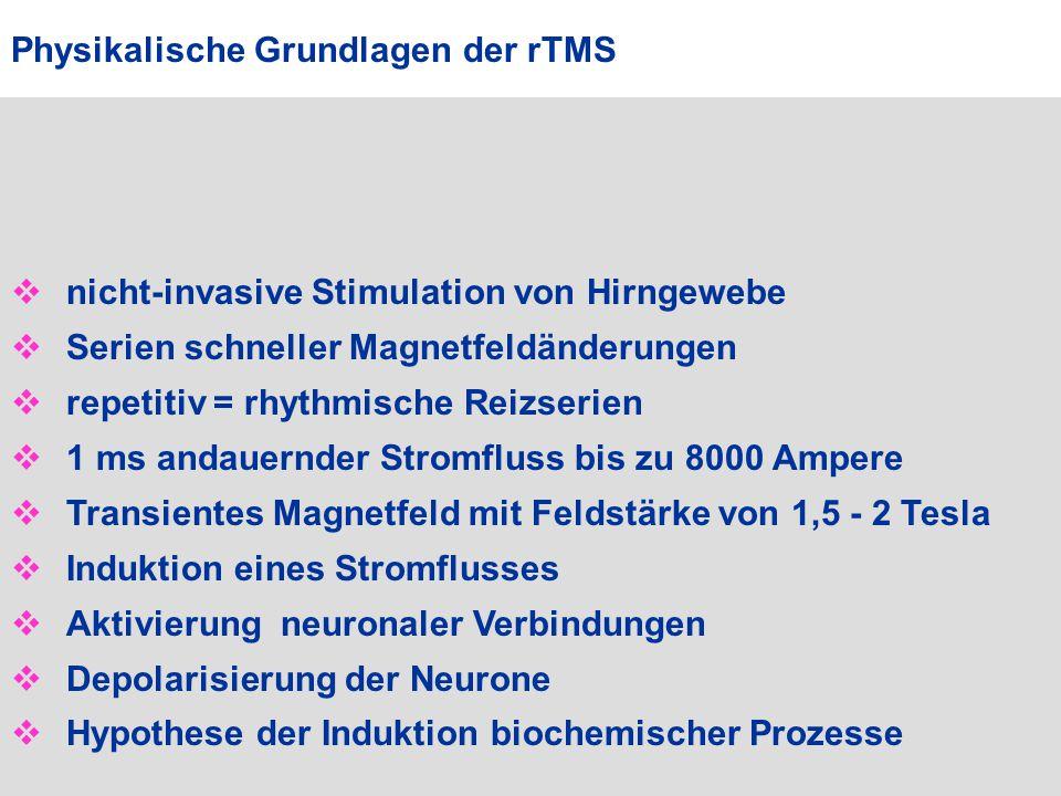  nicht-invasive Stimulation von Hirngewebe  Serien schneller Magnetfeldänderungen  repetitiv = rhythmische Reizserien  1 ms andauernder Stromfluss