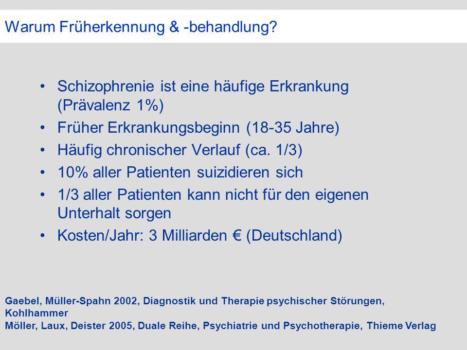 Warum Früherkennung & -behandlung? Schizophrenie ist eine häufige Erkrankung (Prävalenz 1%) Früher Erkrankungsbeginn (18-35 Jahre) Häufig chronischer