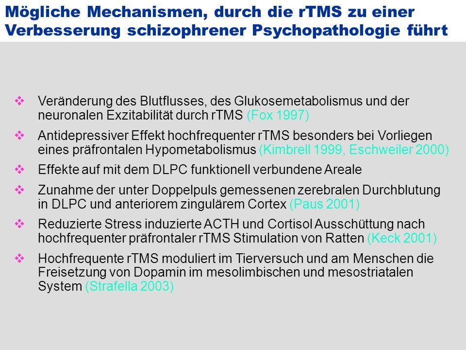 Mögliche Mechanismen, durch die rTMS zu einer Verbesserung schizophrener Psychopathologie führt  Veränderung des Blutflusses, des Glukosemetabolismus