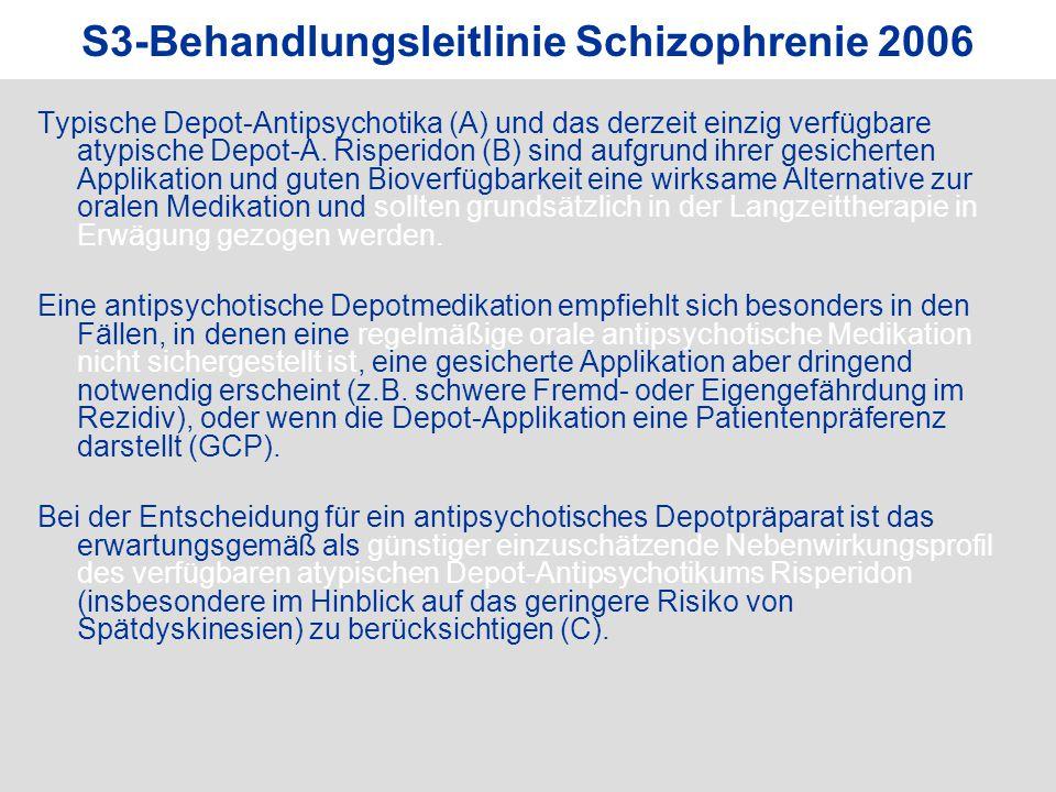 S3-Behandlungsleitlinie Schizophrenie 2006 Typische Depot-Antipsychotika (A) und das derzeit einzig verfügbare atypische Depot-A. Risperidon (B) sind