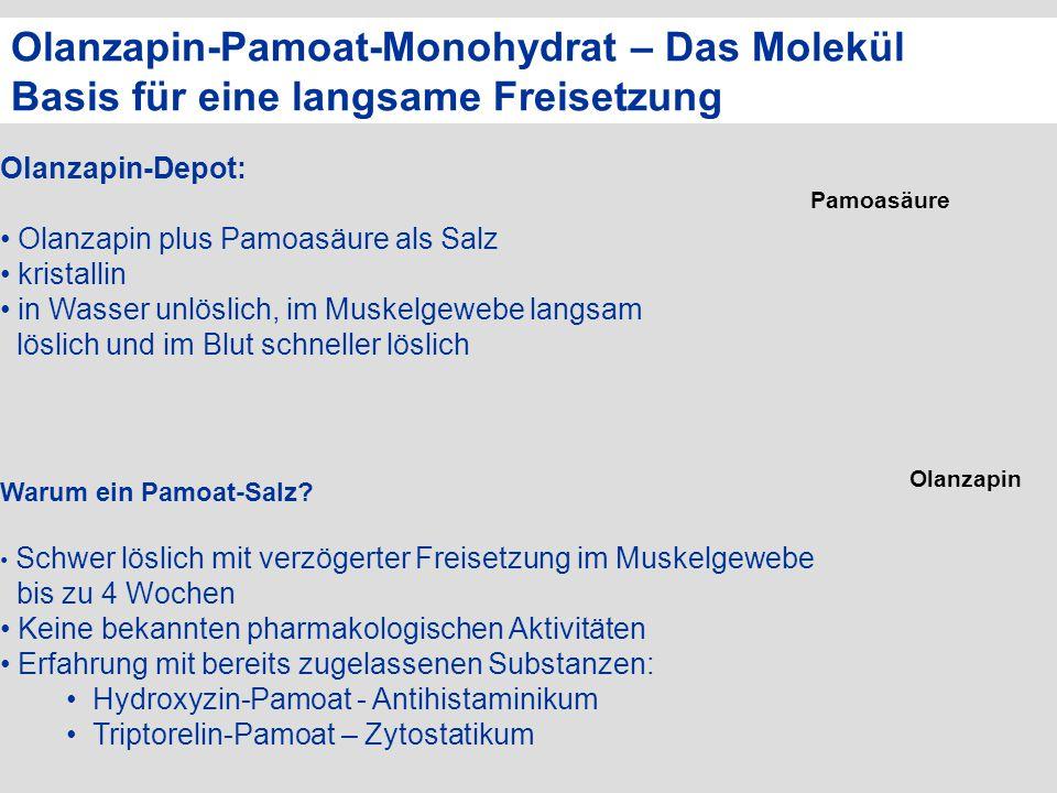 Olanzapin-Pamoat-Monohydrat – Das Molekül Basis für eine langsame Freisetzung Olanzapin-Depot: Olanzapin plus Pamoasäure als Salz kristallin in Wasser
