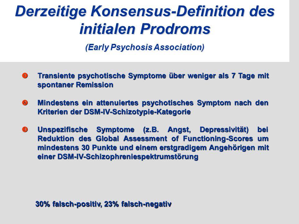 Derzeitige Konsensus-Definition des initialen Prodroms (Early Psychosis Association)  Transiente psychotische Symptome über weniger als 7 Tage mit sp