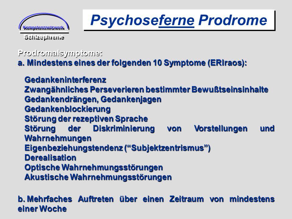 Kompetenznetzwerk Schizophrenie Psychoseferne Prodrome Prodromalsymptome: a.Mindestens eines der folgenden 10 Symptome (ERIraos): b.Mehrfaches Auftret