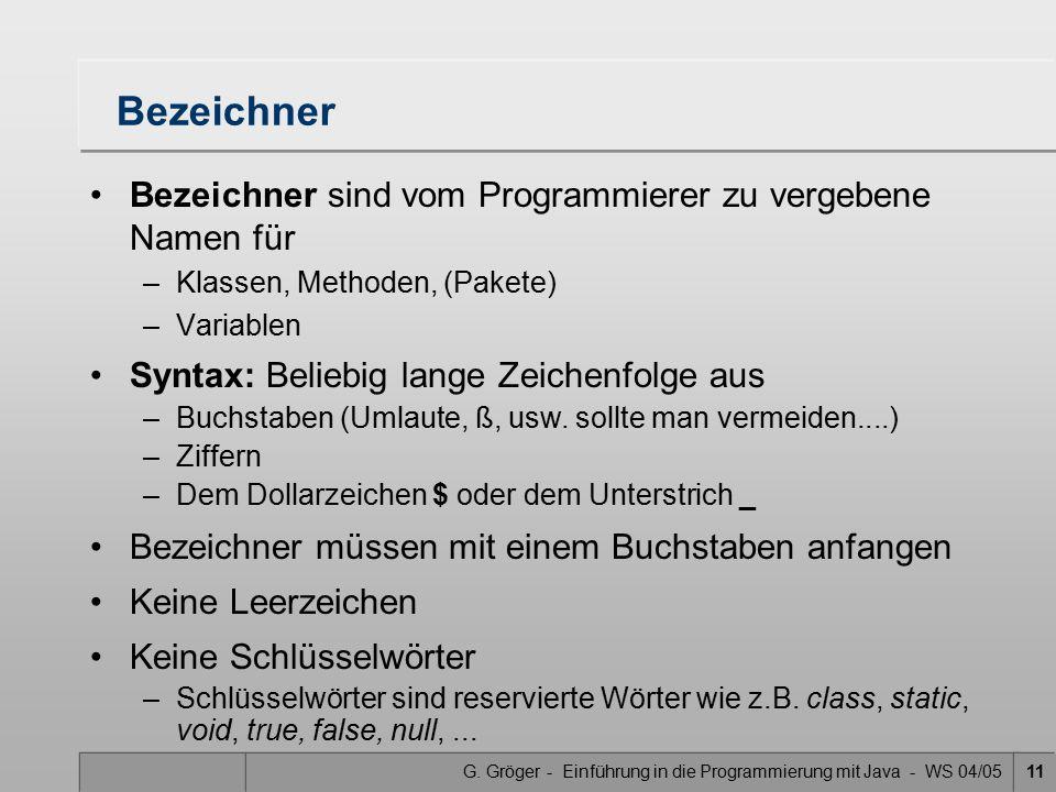 G. Gröger - Einführung in die Programmierung mit Java - WS 04/0511 Bezeichner Bezeichner sind vom Programmierer zu vergebene Namen für –Klassen, Metho