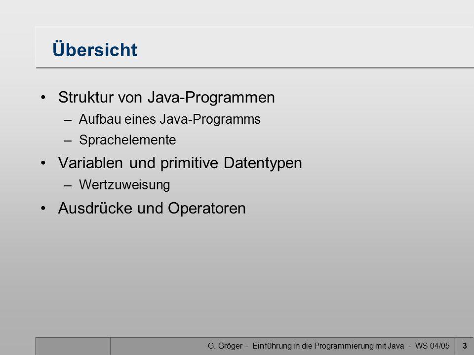 G. Gröger - Einführung in die Programmierung mit Java - WS 04/053 Übersicht Struktur von Java-Programmen –Aufbau eines Java-Programms –Sprachelemente