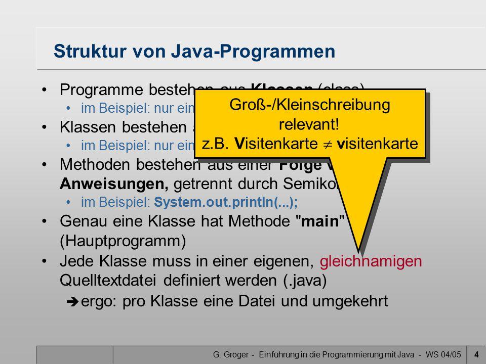 G. Gröger - Einführung in die Programmierung mit Java - WS 04/054 Struktur von Java-Programmen Programme bestehen aus Klassen (class) im Beispiel: nur