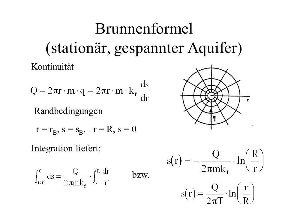 Brunnenformel (stationär, gespannter Aquifer) Kontinuität Randbedingungen r = r B, s = s B, r = R, s = 0 Integration liefert: bzw.