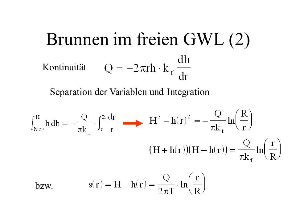 Brunnen im freien GWL (2) Kontinuität Separation der Variablen und Integration bzw.