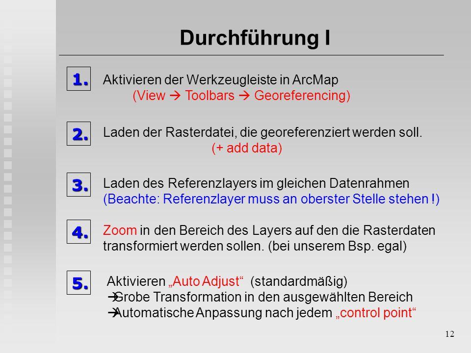 12 Durchführung I1. Aktivieren der Werkzeugleiste in ArcMap (View  Toolbars  Georeferencing) 2. Laden der Rasterdatei, die georeferenziert werden so