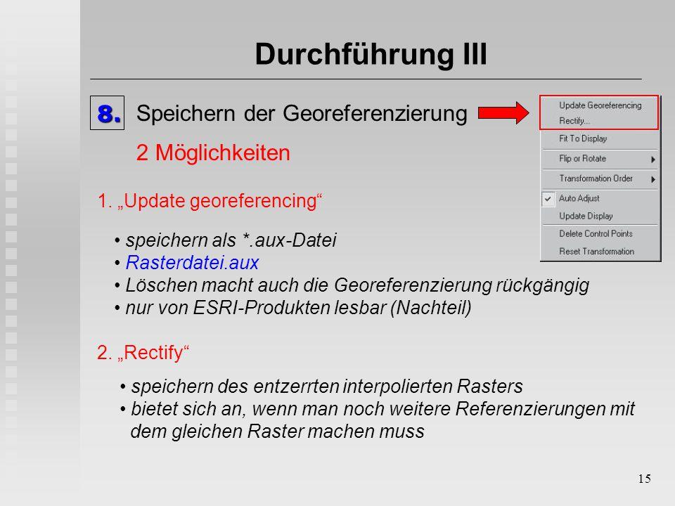 """15 Durchführung III8. Speichern der Georeferenzierung 1. """"Update georeferencing"""" speichern als *.aux-Datei Rasterdatei.aux Löschen macht auch die Geor"""