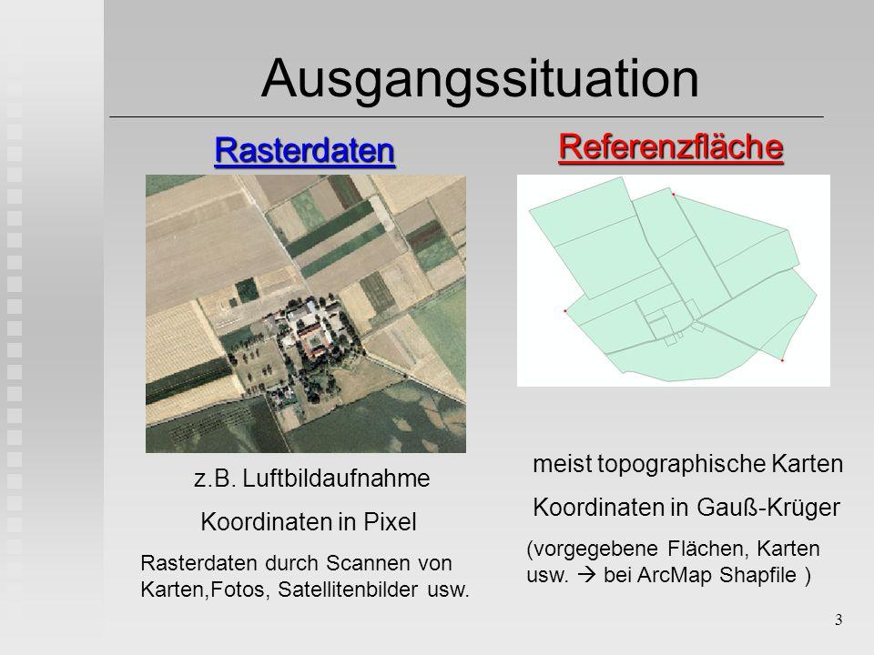 3 Ausgangssituation RasterdatenReferenzfläche z.B. Luftbildaufnahme Koordinaten in Pixel Rasterdaten durch Scannen von Karten,Fotos, Satellitenbilder