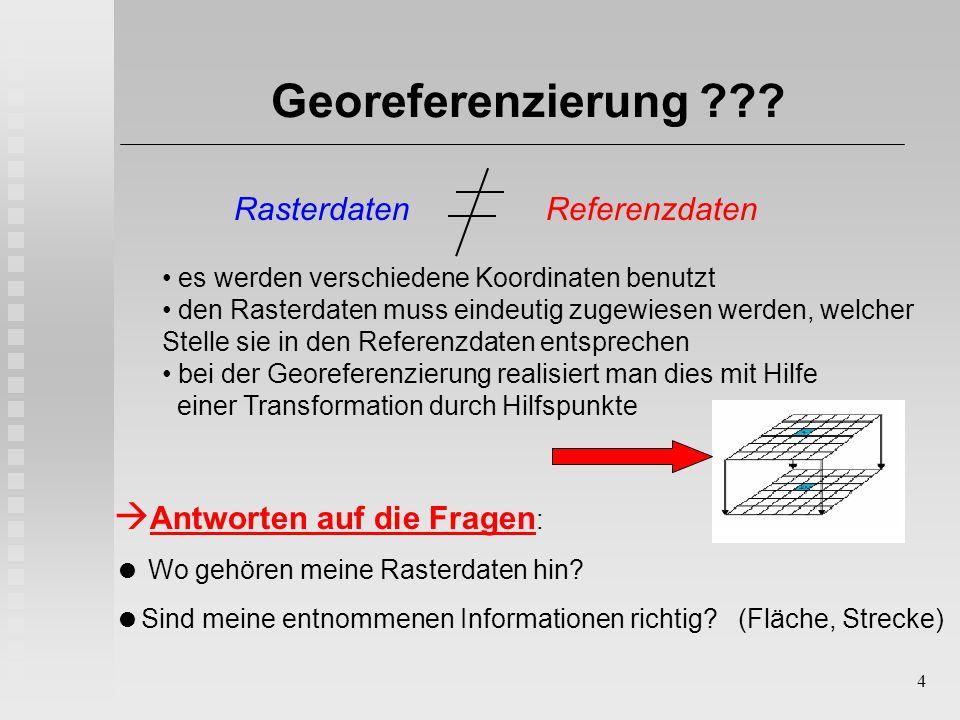 4 Georeferenzierung ???  Antworten auf die Fragen :  Wo gehören meine Rasterdaten hin?  Sind meine entnommenen Informationen richtig? (Fläche, Stre