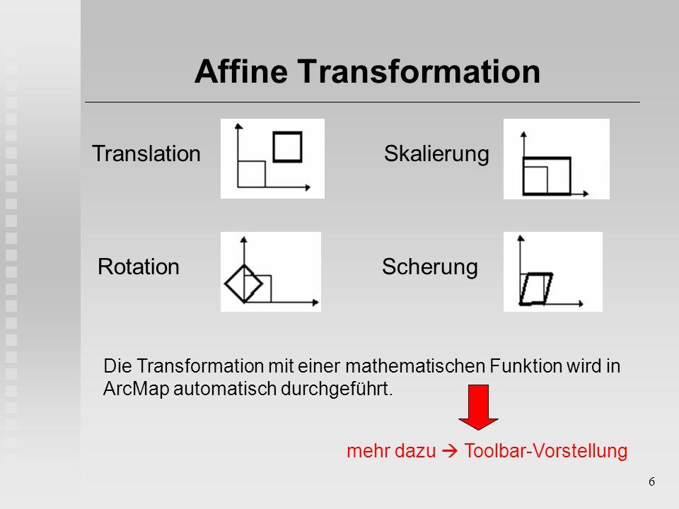 6 Affine Transformation Die Transformation mit einer mathematischen Funktion wird in ArcMap automatisch durchgeführt. Translation SkalierungRotation S
