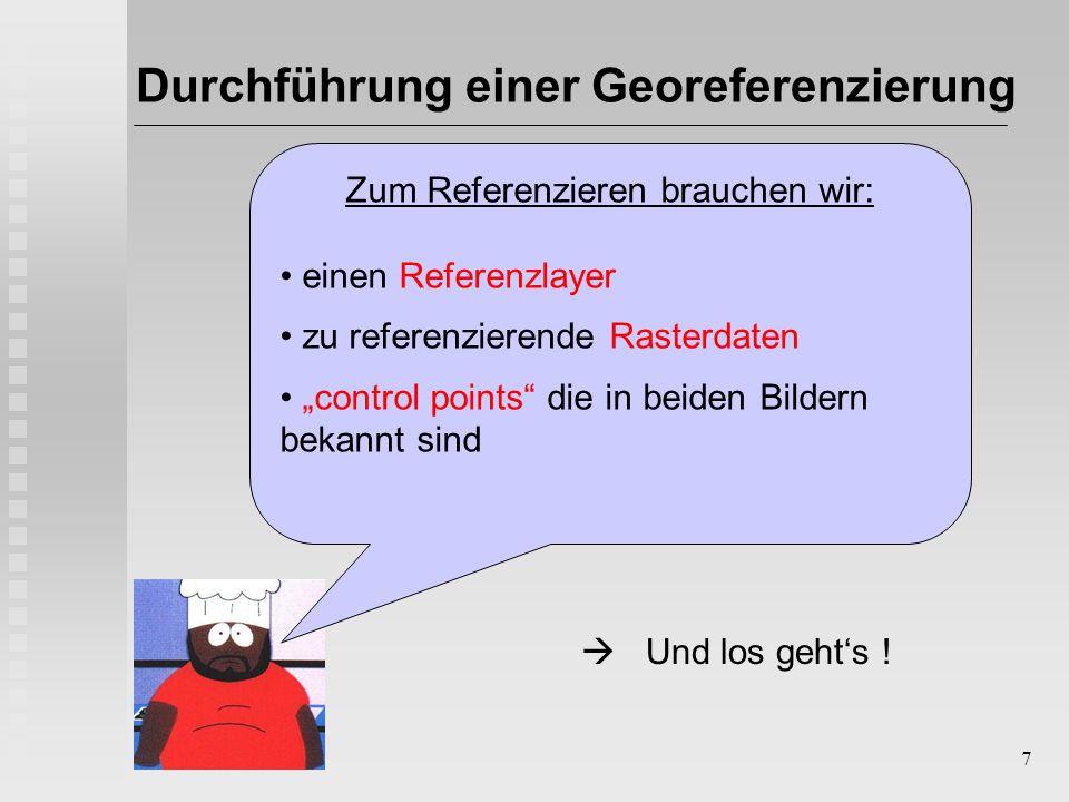 """7 Durchführung einer Georeferenzierung Zum Referenzieren brauchen wir: einen Referenzlayer zu referenzierende Rasterdaten """"control points die in beiden Bildern bekannt sind  Und los geht's !"""
