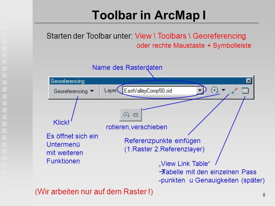 """8 Toolbar in ArcMap I Starten der Toolbar unter: View \ Toolbars \ Georeferencing oder rechte Maustaste + Symbolleiste Name des Rasterdaten rotieren,verschieben Referenzpunkte einfügen (1.Raster 2.Referenzlayer) """"View Link Table  Tabelle mit den einzelnen Pass -punkten u Genauigkeiten (später) Klick."""