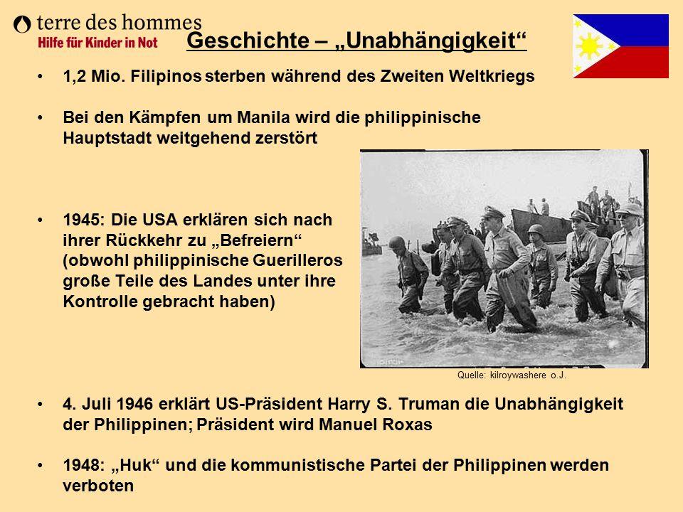 1,2 Mio. Filipinos sterben während des Zweiten Weltkriegs Bei den Kämpfen um Manila wird die philippinische Hauptstadt weitgehend zerstört 1945: Die U