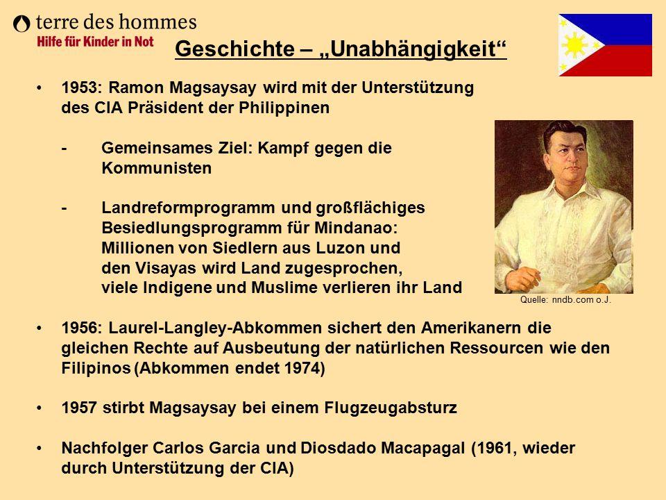 1953: Ramon Magsaysay wird mit der Unterstützung des CIA Präsident der Philippinen - Gemeinsames Ziel: Kampf gegen die Kommunisten - Landreformprogram