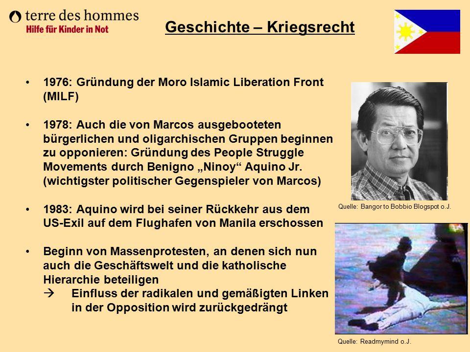 1976: Gründung der Moro Islamic Liberation Front (MILF) 1978: Auch die von Marcos ausgebooteten bürgerlichen und oligarchischen Gruppen beginnen zu op