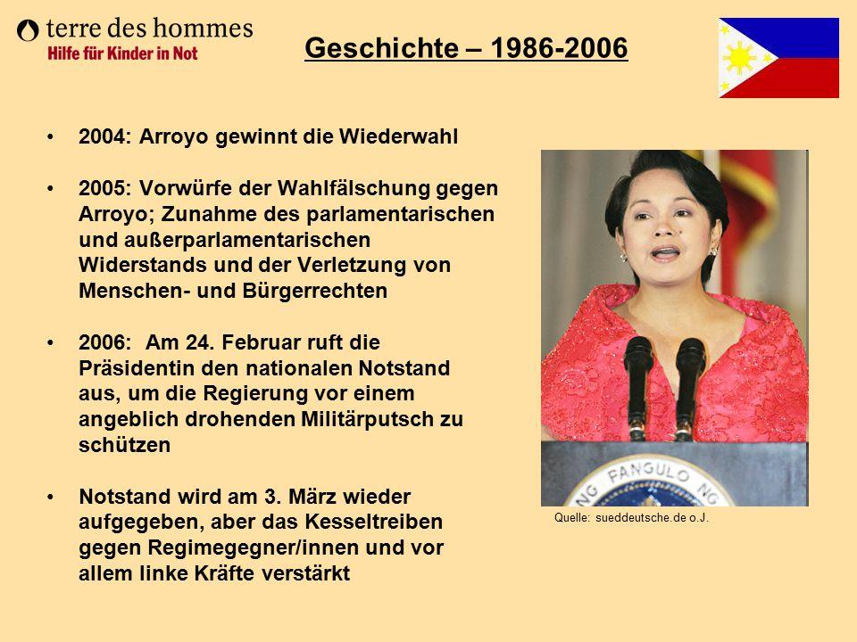 2004: Arroyo gewinnt die Wiederwahl 2005: Vorwürfe der Wahlfälschung gegen Arroyo; Zunahme des parlamentarischen und außerparlamentarischen Widerstand