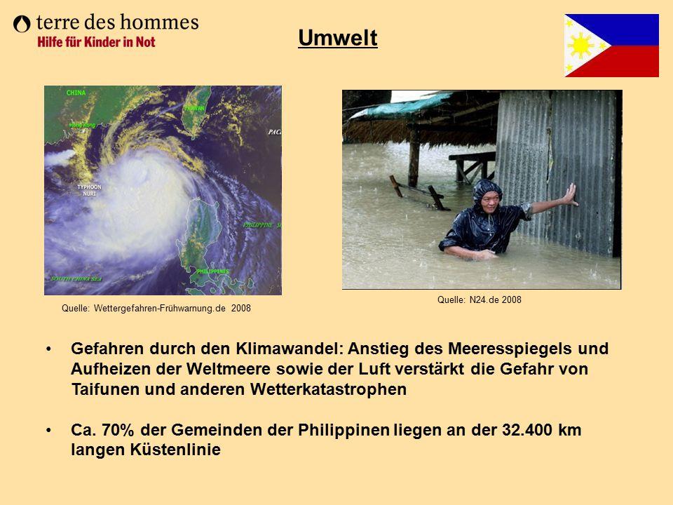Umwelt Quelle: N24.de 2008 Gefahren durch den Klimawandel: Anstieg des Meeresspiegels und Aufheizen der Weltmeere sowie der Luft verstärkt die Gefahr