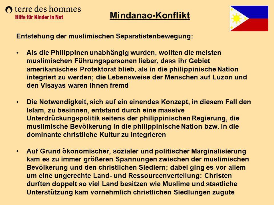 Entstehung der muslimischen Separatistenbewegung: Als die Philippinen unabhängig wurden, wollten die meisten muslimischen Führungspersonen lieber, das