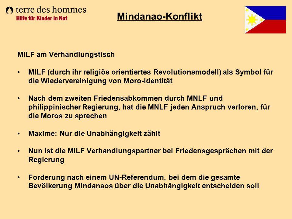 MILF am Verhandlungstisch MILF (durch ihr religiös orientiertes Revolutionsmodell) als Symbol für die Wiedervereinigung von Moro-Identität Nach dem zw