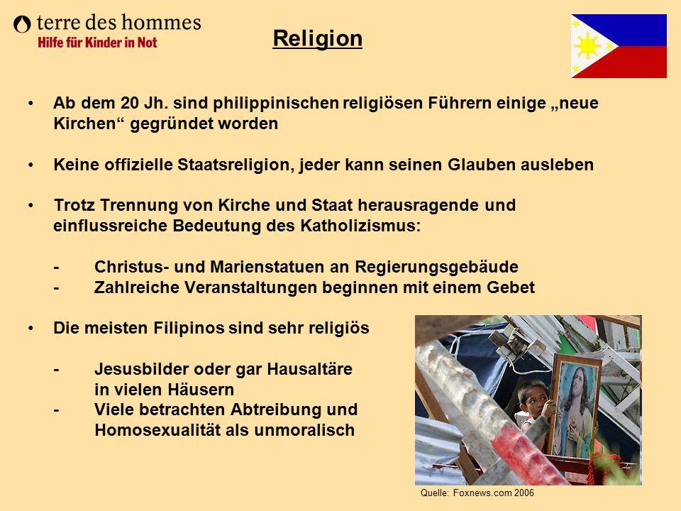 """Ab dem 20 Jh. sind philippinischen religiösen Führern einige """"neue Kirchen"""" gegründet worden Keine offizielle Staatsreligion, jeder kann seinen Glaube"""