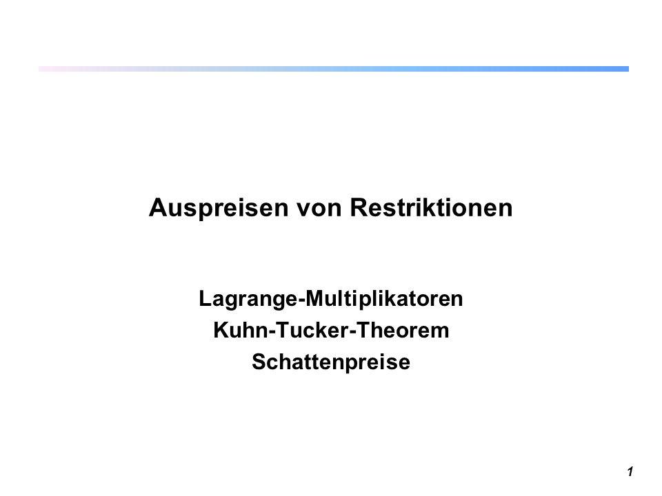 1 Auspreisen von Restriktionen Lagrange-Multiplikatoren Kuhn-Tucker-Theorem Schattenpreise