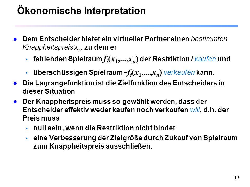 11 Ökonomische Interpretation Dem Entscheider bietet ein virtueller Partner einen bestimmten Knappheitspreis i, zu dem er  fehlenden Spielraum f i (x 1,...,x n ) der Restriktion i kaufen und  überschüssigen Spielraum - f i (x 1,...,x n ) verkaufen kann.