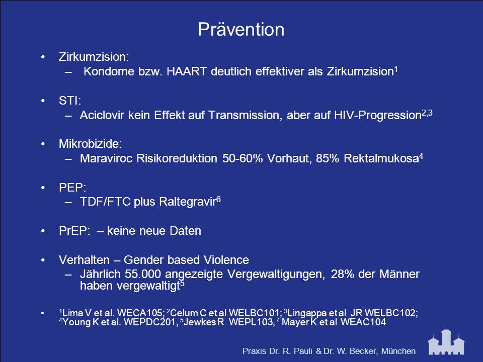 Praxis Dr. R. Pauli & Dr. W. Becker, München Prävention Zirkumzision: – Kondome bzw. HAART deutlich effektiver als Zirkumzision 1 STI: –Aciclovir kein
