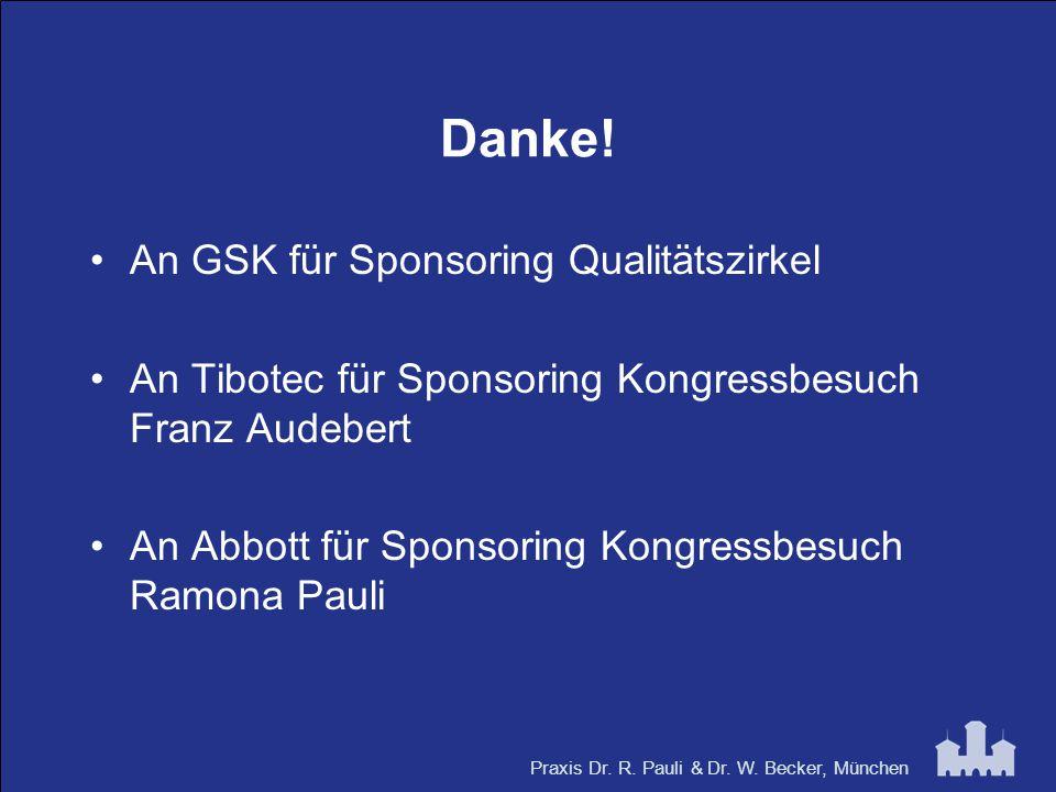Praxis Dr. R. Pauli & Dr. W. Becker, München Danke! An GSK für Sponsoring Qualitätszirkel An Tibotec für Sponsoring Kongressbesuch Franz Audebert An A