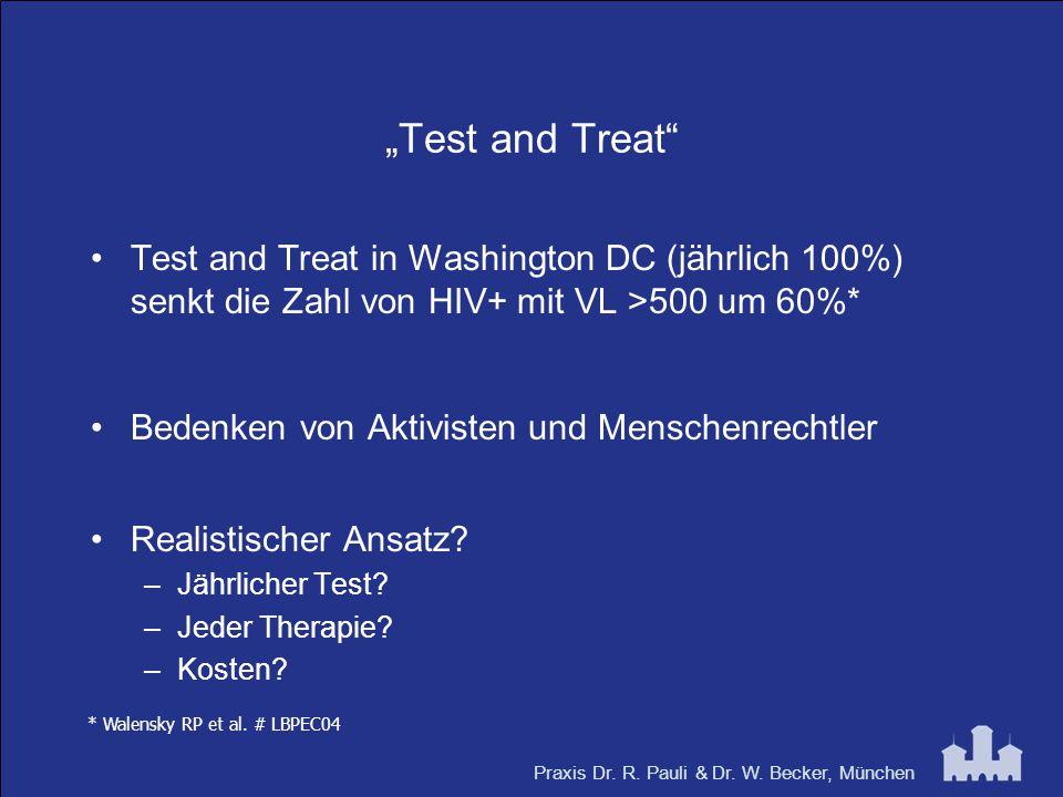 """Praxis Dr. R. Pauli & Dr. W. Becker, München """"Test and Treat"""" Test and Treat in Washington DC (jährlich 100%) senkt die Zahl von HIV+ mit VL >500 um 6"""