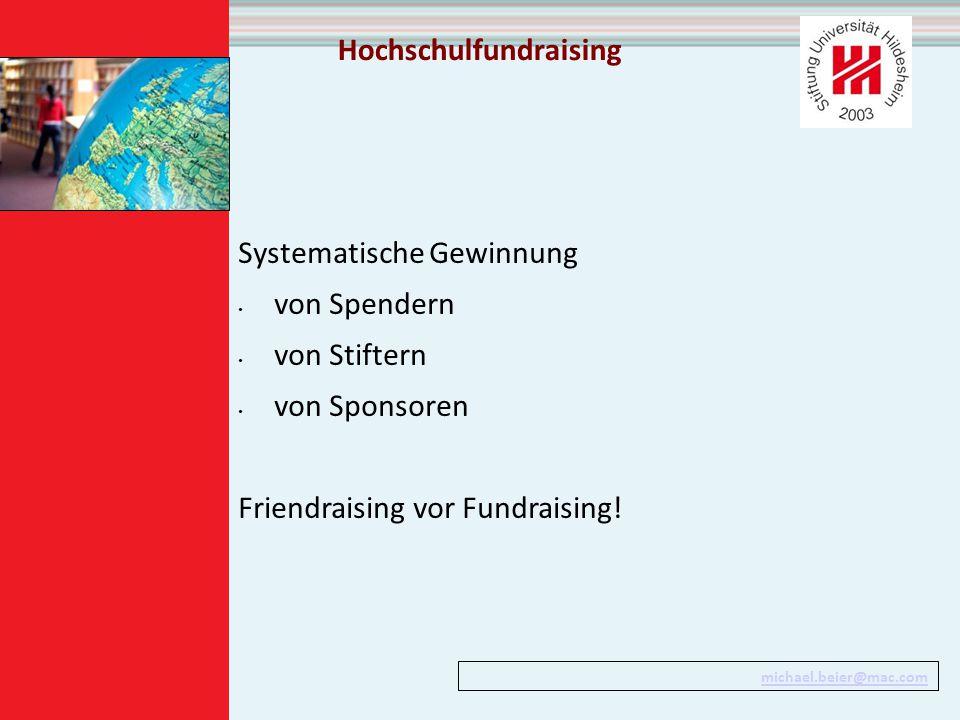 Hochschulfundraising Systematische Gewinnung von Spendern von Stiftern von Sponsoren Friendraising vor Fundraising.