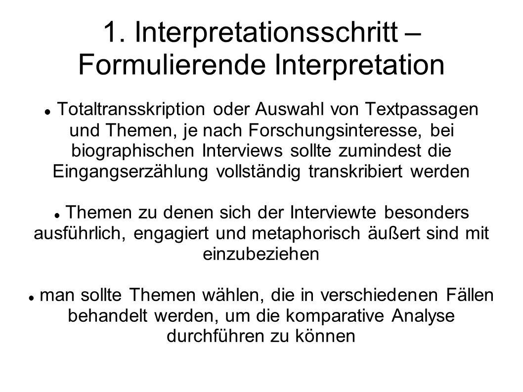 Formulierende Interpretation II der kommunikativ generalisierte Sinngehalt des Interviews wird paraphrasiert, um die thematische Struktur nachzuzeichnen thematische Feingliederung in Ober- und Unterthemen, dabei ist es wichtig darauf zu achten ob Themenwechsel selbstläufig oder aufgrund von Forscherinterventionen geschehen.
