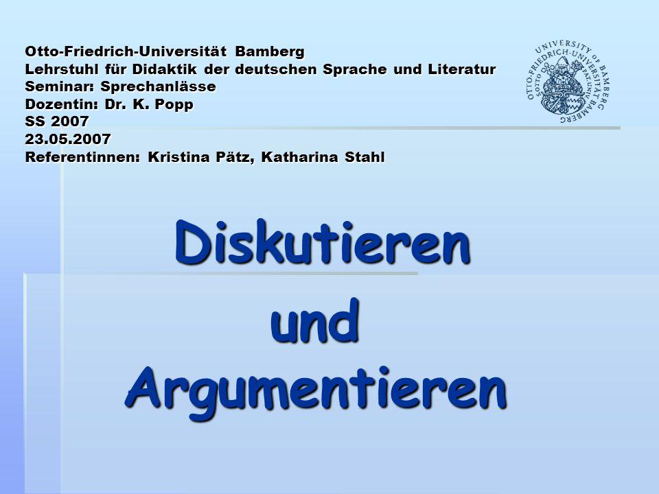 Otto-Friedrich-Universität Bamberg Lehrstuhl für Didaktik der deutschen Sprache und Literatur Seminar: Sprechanlässe Dozentin: Dr. K. Popp SS 2007 23.