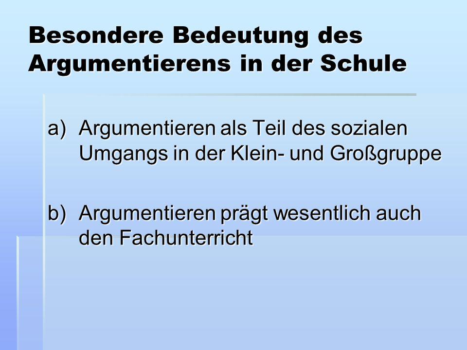 Besondere Bedeutung des Argumentierens in der Schule a)Argumentieren als Teil des sozialen Umgangs in der Klein- und Großgruppe b)Argumentieren prägt