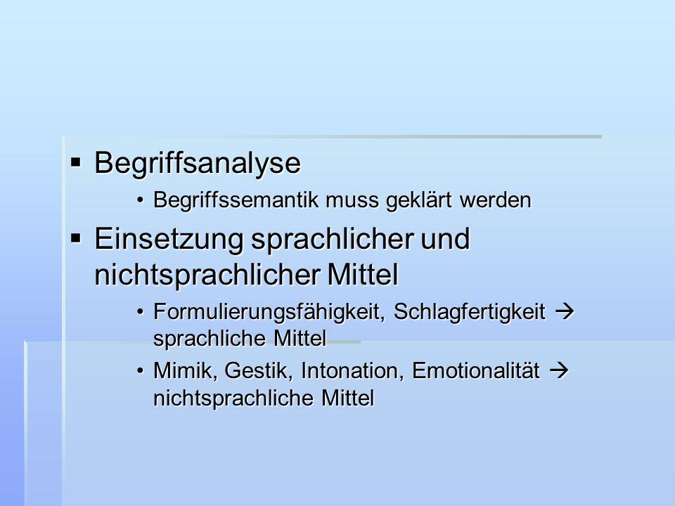  Begriffsanalyse Begriffssemantik muss geklärt werdenBegriffssemantik muss geklärt werden  Einsetzung sprachlicher und nichtsprachlicher Mittel Form