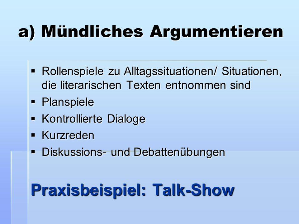 a) Mündliches Argumentieren  Rollenspiele zu Alltagssituationen/ Situationen, die literarischen Texten entnommen sind  Planspiele  Kontrollierte Di
