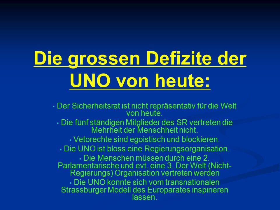 Die grossen Defizite der UNO von heute: Der Sicherheitsrat ist nicht repräsentativ für die Welt von heute. Die fünf ständigen Mitglieder des SR vertre