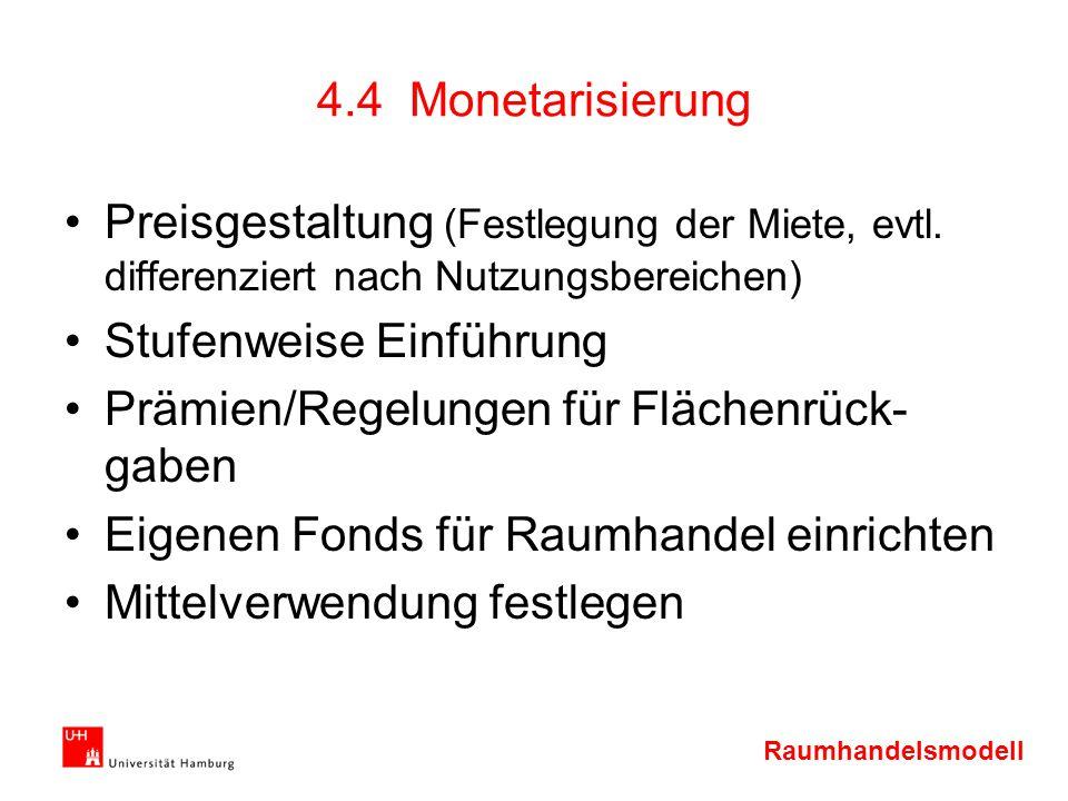 Raumhandelsmodell 4.4 Monetarisierung Preisgestaltung (Festlegung der Miete, evtl. differenziert nach Nutzungsbereichen) Stufenweise Einführung Prämie