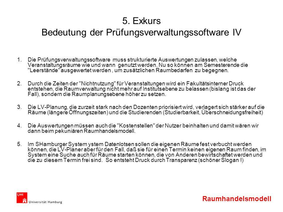 Raumhandelsmodell 5. Exkurs Bedeutung der Prüfungsverwaltungssoftware IV 1.Die Prüfungsverwaltungssoftware muss strukturierte Auswertungen zulassen, w