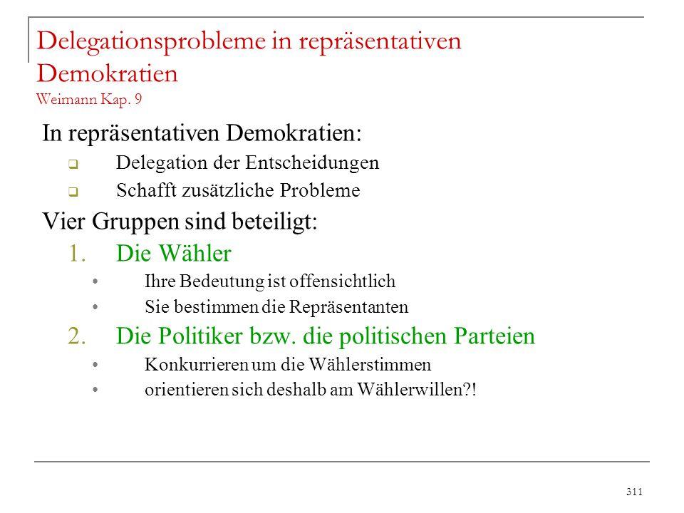 311 Delegationsprobleme in repräsentativen Demokratien Weimann Kap. 9 In repräsentativen Demokratien:  Delegation der Entscheidungen  Schafft zusätz