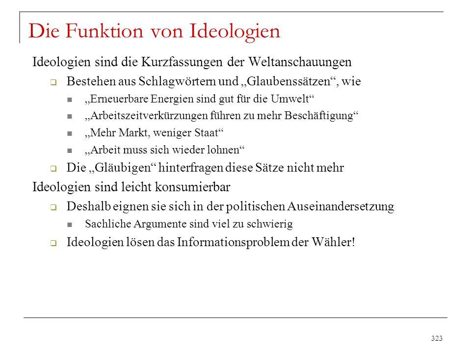 """323 Die Funktion von Ideologien Ideologien sind die Kurzfassungen der Weltanschauungen  Bestehen aus Schlagwörtern und """"Glaubenssätzen"""", wie """"Erneuer"""